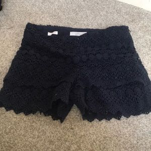 Navy lace layered shorts